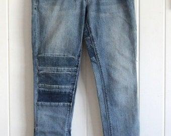 Rad denim skinny jeans, size 8, blue, mid regular rise, grunge, indie, rare, stripe design