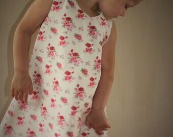 ABBIE Handmade Girls Cotton Rose Dress.Ages 3-4.
