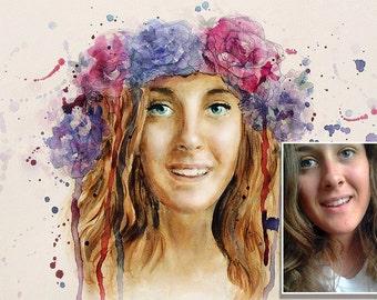 Custom Portrait, Watercolor, Digital painting