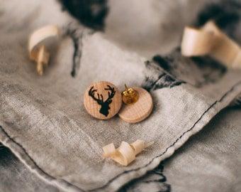 Wooden Stud earings with Deer