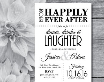 Rehearsal Dinner Invitations | Rehearsal Invitation | Wedding Rehearsal | Dinner, Drinks, and Laughter | Black and White | Gatsby Theme