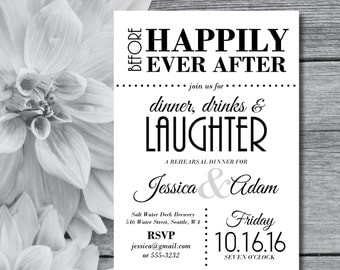 Rehearsal Dinner Invitations | Rehearsal Invitation | Wedding Rehearsal | Rehearsal Invites | Rehearsal Dinner Invites | Black and White