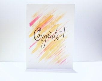 Congrats Handwritten Card on Watercolors - Calligraphy - Modern Calligraphy