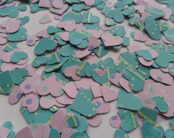 lilac and turquoise heart table confetti