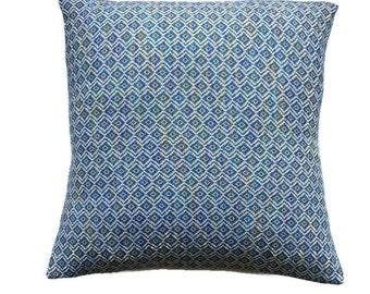 Navy Blue Pillow Cover in Printed Knit / Handmade Pillow Cover of Unique Fabric / Diamond detail Throw Cushion in Blue