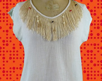 Vintage shirt sleeveless fringes and beads 1970