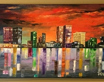 Large City painting, city oil painting, city night lights painting, abstract city painting