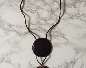 black spheres minimalist necklace | geometric necklace