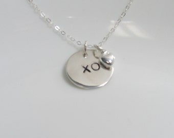 XO charm necklace, Heart charm necklace, XO necklace, hugs and kisses necklace, sterling silver charm necklace, gift for someone you love