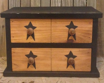 Primitive Two-Drawer Table Box