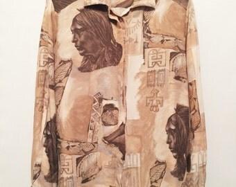 Vintage Brown & Cream Print Shirt