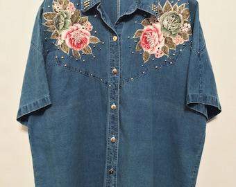 Vintage Denim Flower Patches Shirt