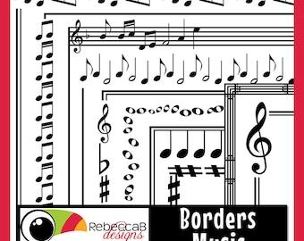 Clipart Borders, Music Doodle Borders, Doodle Frames, Music Clip Art, Printable