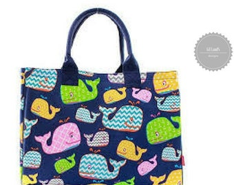 Monogrammed Navy Whale Tote