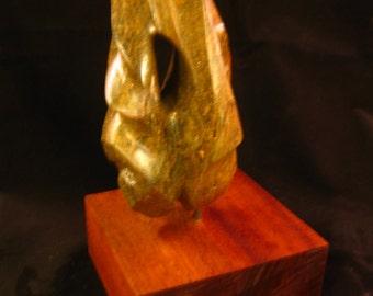 REVELATION - Soapstone Sculpture Mounted on Wood Bloack