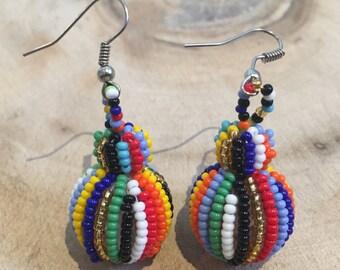 Multi-Color Beaded Ball Earrings