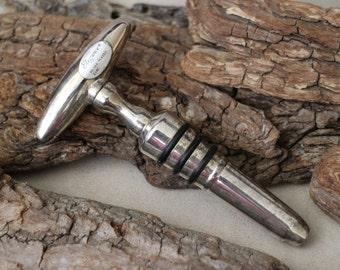 Vintage Silver Plated Bottle Stopper, Vintage Silver Plated Corkscrew, Silver Plated Barware, 2 in 1 Bar Tools