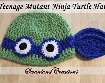 TMNT Hat for Children and Adults - Hand Crocheted - Made To Order