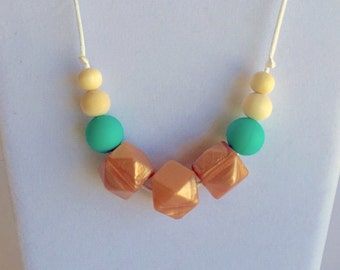 The Addie- Rose Gold, Turquoise Teething Necklace/Nursing Necklace
