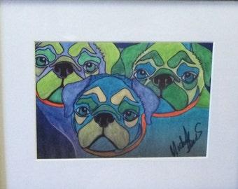 Colorful Pug print 3pugssnug matted art print