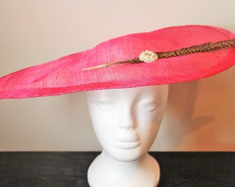 Bright pink fascinator hat with pheasant feather, teardrop fascinator, wedding fascinator, hot pink wedding hat, hot pink fascinator