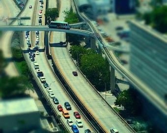 "Tilt Shift Photograph of Downtown Miami 6"" x 8"""