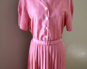 Pleated Pink & White Dotted Day Dress