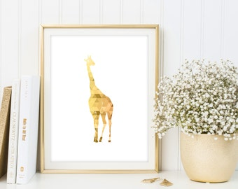 Geometric giraffe printable poster, giraffe wall art, giraffe nursery decor, triangle print, giraffe poster, yellow geometric animal print