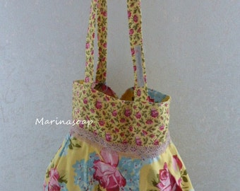 Reversible bags, shoppers, bag, bags, roses, hydrangeas, Mille fiori, gift girl girlfriend, summer, mother