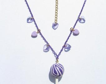 BERRYPOP Necklace - Lollipop, kawaii, sweet lolita, fairy kei, purple, heart, candy, harajuku, decora, cute