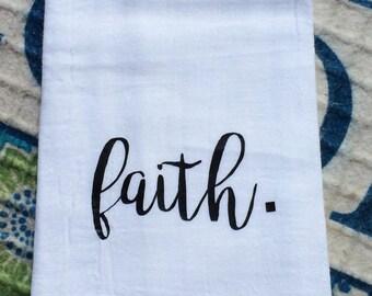 Farmhouse Kitchen Faith Flour Sack Dish Towel Farm Font Chic Decor Floursack Tea Towels - Housewarming Wedding Centerpiece Christmas Gift