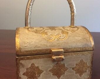 Vintage Fashion Imports Wood Box Gold-tone Purse