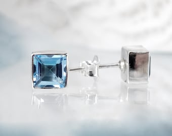 November birthstone earrings, Square Earrings, Silver Stud earrings, Blue Topaz earrings, Gemstone Earrings, Large Studs, Blue Earrings