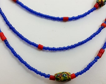 3-Strand Handmade Vintage Venetian Trade Bead Necklace w/ Millefiori, White Hearts and Seed Beads