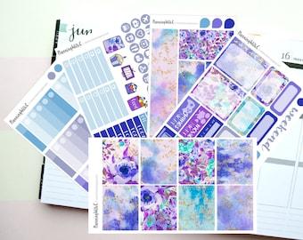 "Blue Cold Winter Floral ""Winter Walks"" is a Planner Sticker Kit for Vertical Erin Condren Style Planning, Kikki K, Filofax"