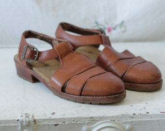 Brown leather Timberland sandals | T-strap buckle cutout oxfords | Leather summer flats | Size 7.5