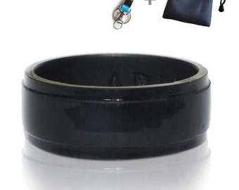 Black Elegant Silicone Wedding Ring/ Wedding Band for Men. Thin, Comfortable, Durable. Gift Bag and Silicone Keychain Included.