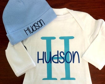 Personalized Newborn Outfit and Newborn Hat