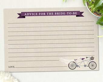 "Printable Purple Tandem Bicycle Advice Card, Bridal Wedding Shower, 6""x4"",  JPG Instant Download"