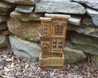 Clay Sculpture Of A  New Orleans Pre Katrina Front Porch Detailed Picket Fence Shotgun House