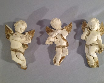 ON SALE:  Wall Hanging Cherubs (3) White Alabaster - Handmade in Greece