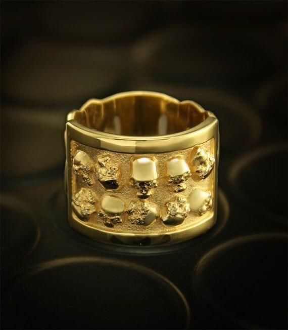 Skull gold ring Skull signet ring Biker ring Men gold ring