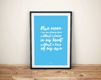 "Manchester City Football Club ""Blue Moon"" Script Print"