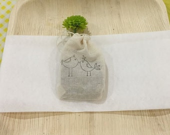 50 Stamped Sunflower Seed Favors in Muslin Bags - Custom Stamp
