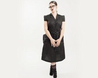 25% OFF sale - Black dress, big pocket dress, button up dress, sleeveless dress, summer dress women, cotton dress