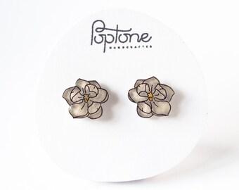 Magnolia Earrings, White Flower Stud Earrings, Magnolias, Floral Bridal Earrings