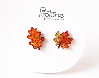 Maple leaf earrings, fall leaf studs, oak autumn leaves, leaf earrings mismatched set, autumn leaf earrings