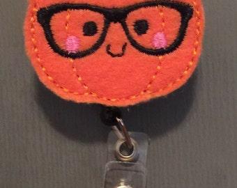 Geeky Nerdy Pumpkin Cute Halloween Badge Reel