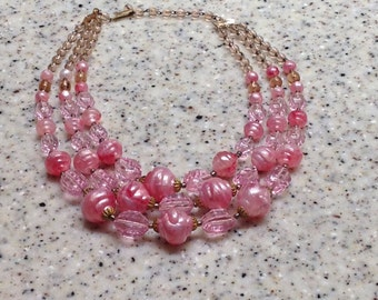 Vintage Cotton Candy Pink Triple Strand Bead Necklace - West Germany