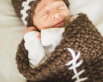 Crochet Newborn Football Hat & Cocoon, Photo Prop Set, Newborn Prop, Infant Portrait